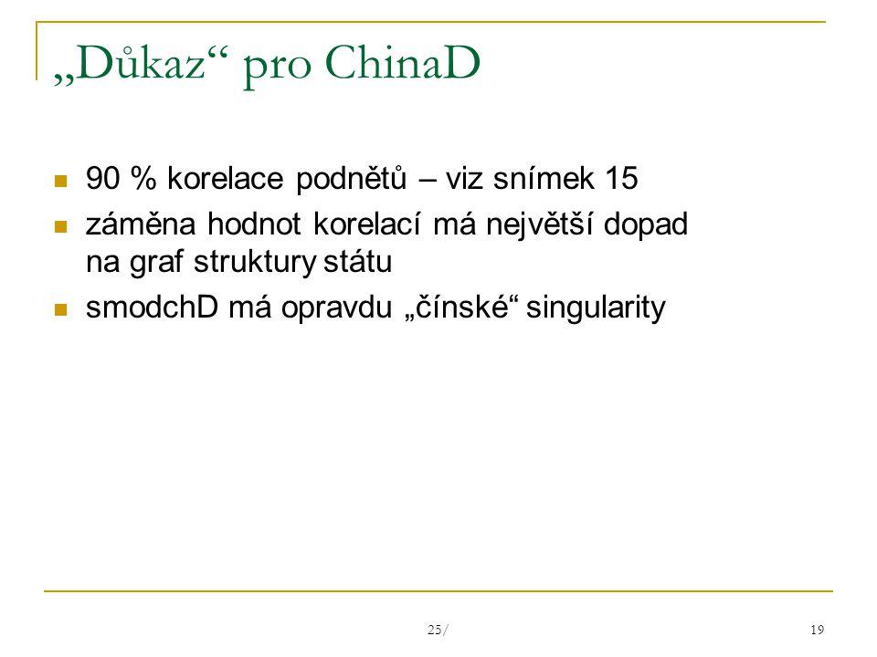 """25/ 19 """"Důkaz pro ChinaD 90 % korelace podnětů – viz snímek 15 záměna hodnot korelací má největší dopad na graf struktury státu smodchD má opravdu """"čínské singularity"""