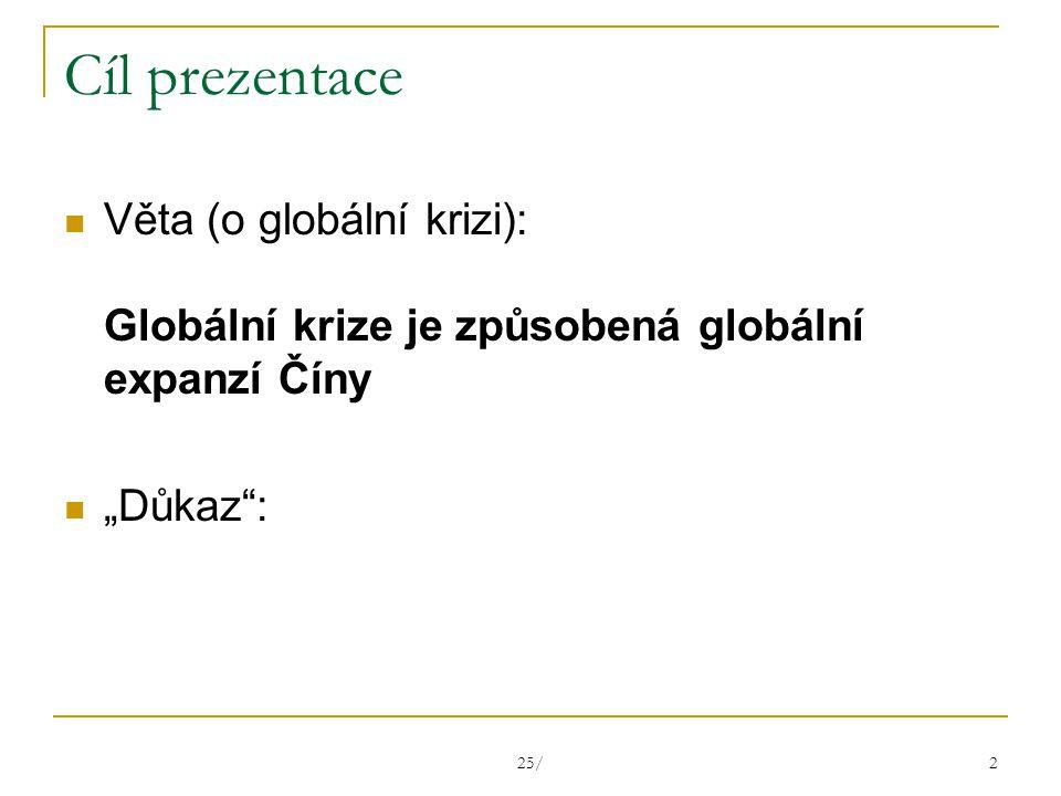 """25/ 2 Cíl prezentace Věta (o globální krizi): Globální krize je způsobená globální expanzí Číny """"Důkaz :"""