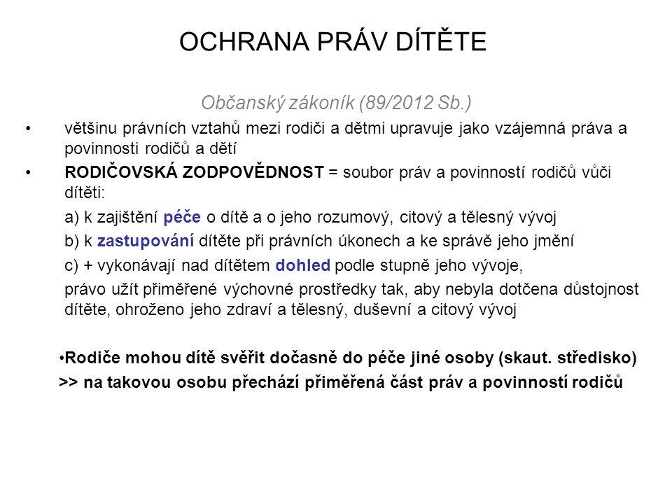 OCHRANA PRÁV DÍTĚTE Občanský zákoník (89/2012 Sb.) většinu právních vztahů mezi rodiči a dětmi upravuje jako vzájemná práva a povinnosti rodičů a dětí