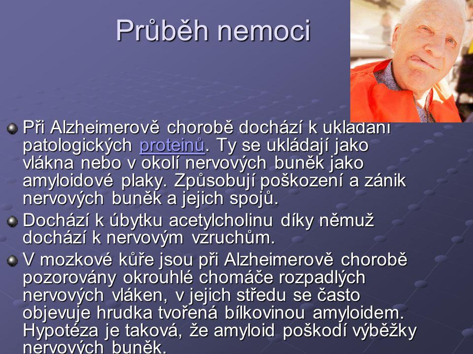 Průběh nemoci Při Alzheimerově chorobě dochází k ukládání patologických proteinů.