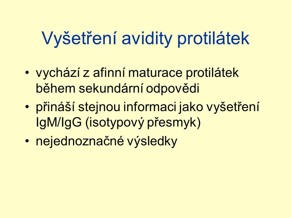 Vyšetření avidity protilátek vychází z afinní maturace protilátek během sekundární odpovědi přináší stejnou informaci jako vyšetření IgM/IgG (isotypov