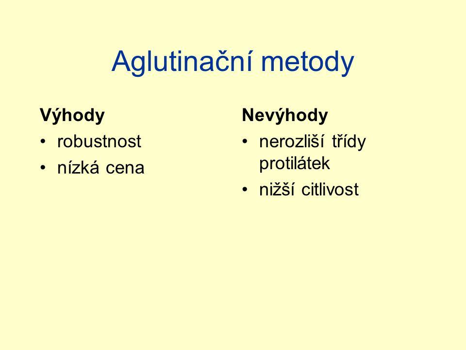 Aglutinační metody Výhody robustnost nízká cena Nevýhody nerozliší třídy protilátek nižší citlivost
