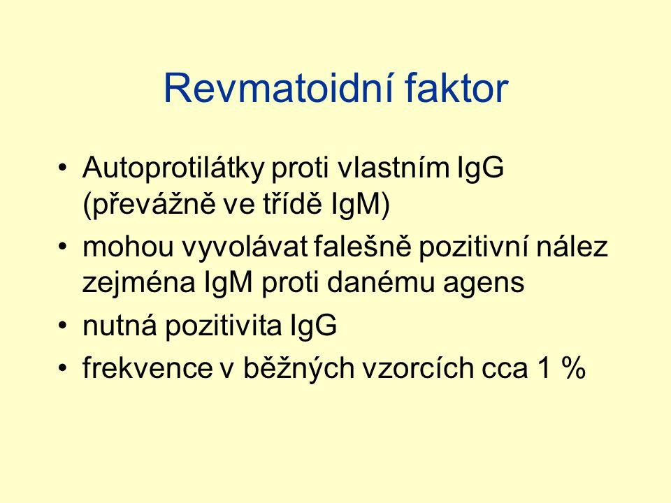 Revmatoidní faktor Autoprotilátky proti vlastním IgG (převážně ve třídě IgM) mohou vyvolávat falešně pozitivní nález zejména IgM proti danému agens nutná pozitivita IgG frekvence v běžných vzorcích cca 1 %