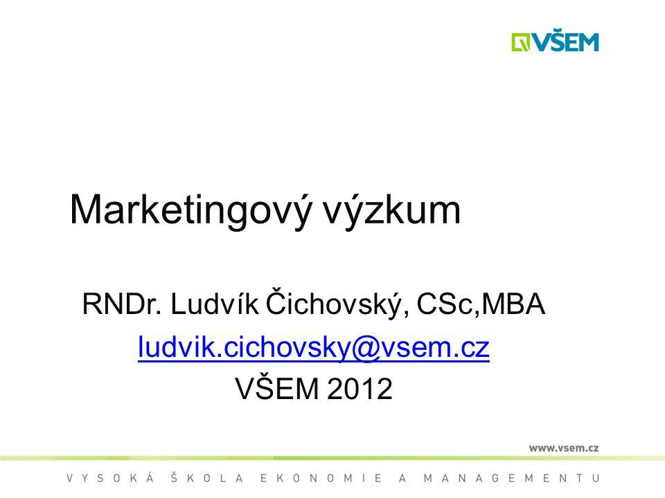 Marketingový výzkum RNDr. Ludvík Čichovský, CSc,MBA ludvik.cichovsky@vsem.cz VŠEM 2012