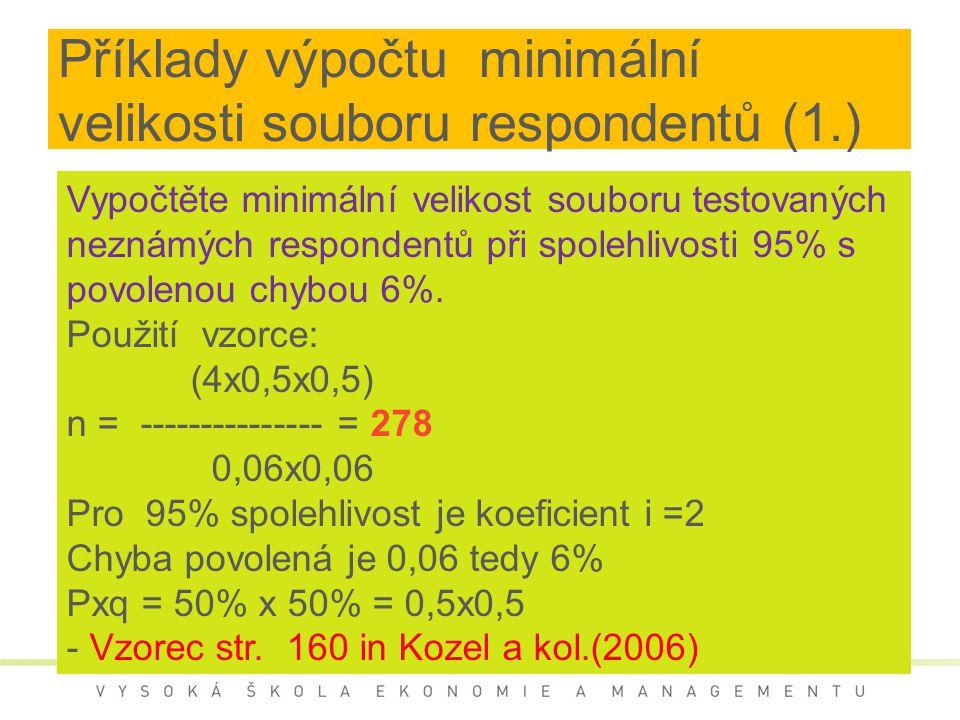 Příklady výpočtu minimální velikosti souboru respondentů (1.) Vypočtěte minimální velikost souboru testovaných neznámých respondentů při spolehlivosti 95% s povolenou chybou 6%.