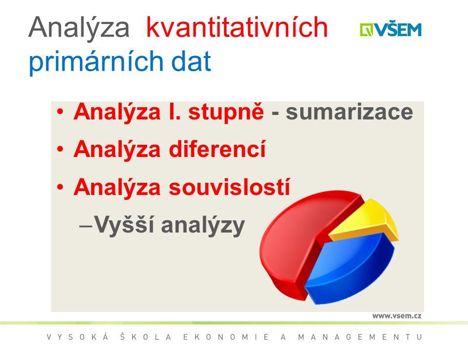 Analýza kvantitativních primárních dat Analýza I. stupně - sumarizace Analýza diferencí Analýza souvislostí –Vyšší analýzy