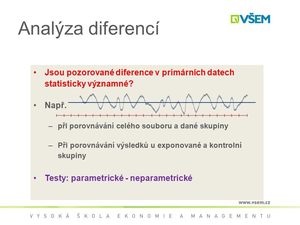 Analýza diferencí Jsou pozorované diference v primárních datech statisticky významné? Např. –při porovnávání celého souboru a dané skupiny –Při porovn