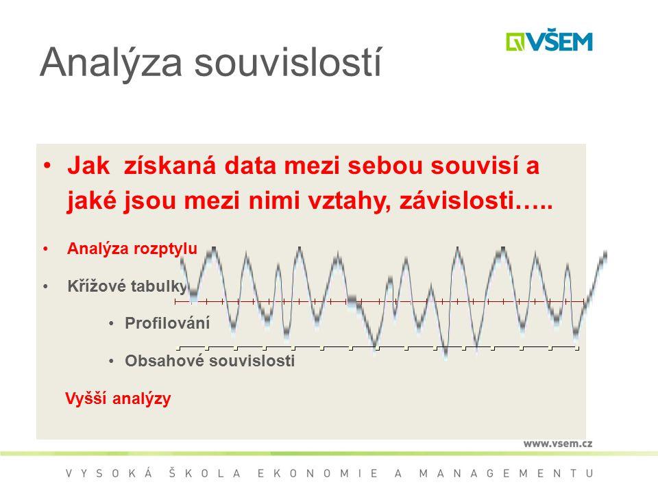 Analýza souvislostí Jak získaná data mezi sebou souvisí a jaké jsou mezi nimi vztahy, závislosti….. Analýza rozptylu Křížové tabulky Profilování Obsah