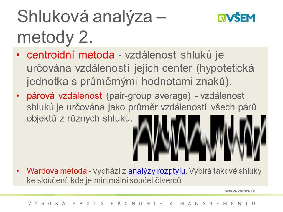 Shluková analýza – metody 2. centroidní metoda - vzdálenost shluků je určována vzdáleností jejich center (hypotetická jednotka s průměrnými hodnotami