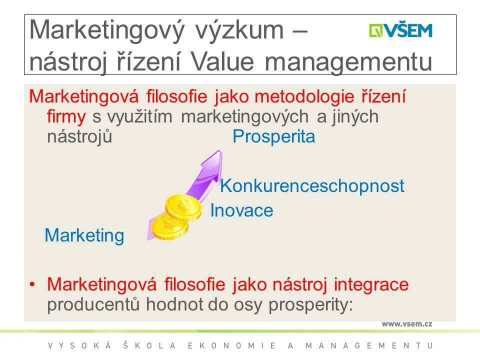 Marketingový výzkum – nástroj řízení Value managementu Marketingová filosofie jako metodologie řízení firmy s využitím marketingových a jiných nástrojů Prosperita Konkurenceschopnost Inovace Marketing Marketingová filosofie jako nástroj integrace producentů hodnot do osy prosperity:
