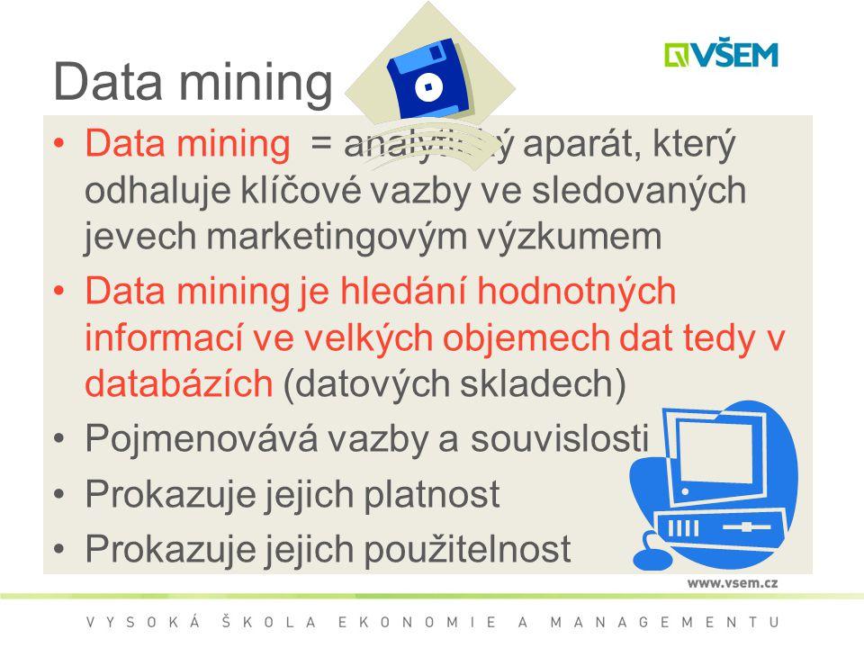 Data mining Data mining = analytický aparát, který odhaluje klíčové vazby ve sledovaných jevech marketingovým výzkumem Data mining je hledání hodnotných informací ve velkých objemech dat tedy v databázích (datových skladech) Pojmenovává vazby a souvislosti Prokazuje jejich platnost Prokazuje jejich použitelnost
