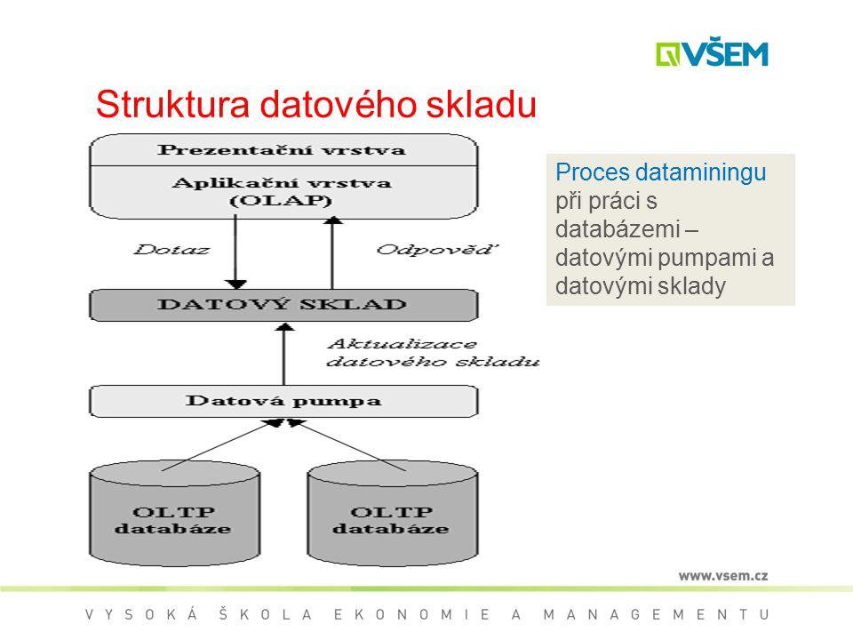 Struktura datového skladu Proces dataminingu při práci s databázemi – datovými pumpami a datovými sklady