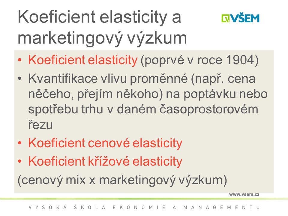 Koeficient elasticity a marketingový výzkum Koeficient elasticity (poprvé v roce 1904) Kvantifikace vlivu proměnné (např.