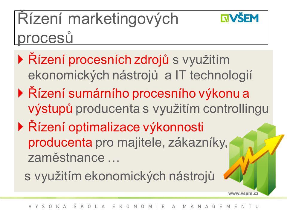 Řízení marketingových procesů  Řízení procesních zdrojů s využitím ekonomických nástrojů a IT technologií  Řízení sumárního procesního výkonu a výst
