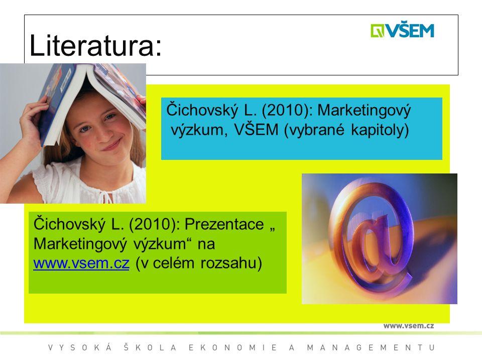 """Literatura: Čichovský L. (2010): Prezentace """" Marketingový výzkum"""" na www.vsem.cz (v celém rozsahu) www.vsem.cz Čichovský L. (2010): Marketingový výzk"""