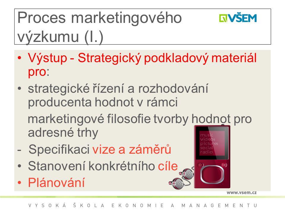 Proces marketingového výzkumu (I.) Výstup - Strategický podkladový materiál pro: strategické řízení a rozhodování producenta hodnot v rámci marketingové filosofie tvorby hodnot pro adresné trhy - Specifikaci vize a záměrů Stanovení konkrétního cíle Plánování