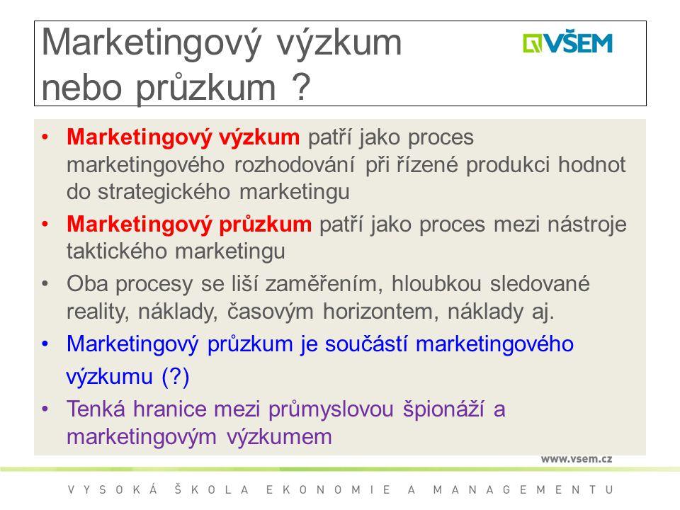 Marketingový výzkum nebo průzkum ? Marketingový výzkum patří jako proces marketingového rozhodování při řízené produkci hodnot do strategického market
