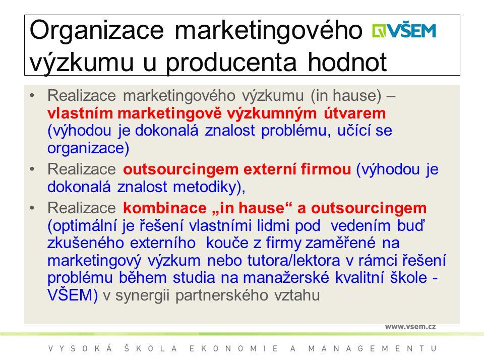 """Organizace marketingového výzkumu u producenta hodnot Realizace marketingového výzkumu (in hause) – vlastním marketingově výzkumným útvarem (výhodou je dokonalá znalost problému, učící se organizace) Realizace outsourcingem externí firmou (výhodou je dokonalá znalost metodiky), Realizace kombinace """"in hause a outsourcingem (optimální je řešení vlastními lidmi pod vedením buď zkušeného externího kouče z firmy zaměřené na marketingový výzkum nebo tutora/lektora v rámci řešení problému během studia na manažerské kvalitní škole - VŠEM) v synergii partnerského vztahu"""