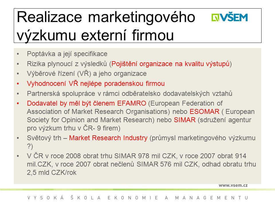Realizace marketingového výzkumu externí firmou Poptávka a její specifikace Rizika plynoucí z výsledků (Pojištění organizace na kvalitu výstupů) Výběr