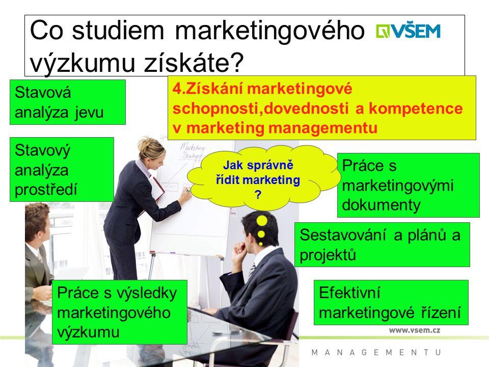 Co studiem marketingového výzkumu získáte? 4.Získání marketingové schopnosti,dovednosti a kompetence v marketing managementu Stavová analýza jevu Stav