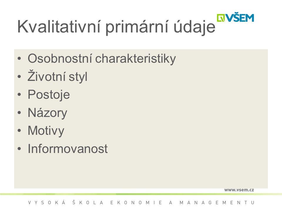 Kvalitativní primární údaje Osobnostní charakteristiky Životní styl Postoje Názory Motivy Informovanost