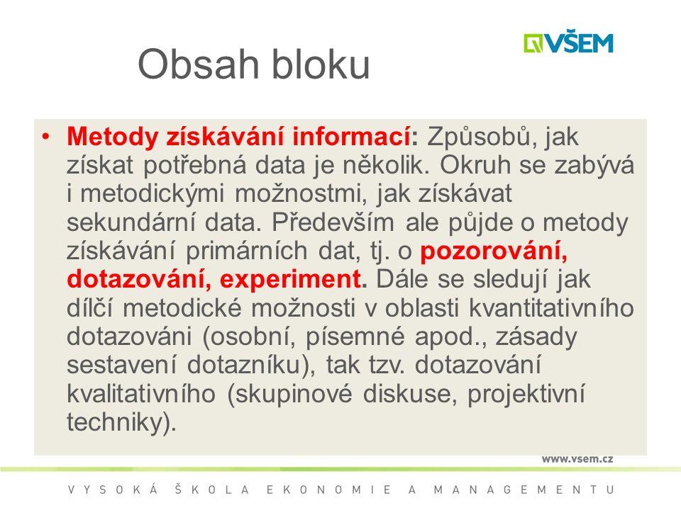 Obsah bloku Metody získávání informací: Způsobů, jak získat potřebná data je několik. Okruh se zabývá i metodickými možnostmi, jak získávat sekundární