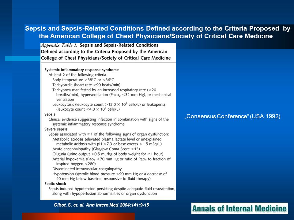 Gibot, S. et. al. Ann Intern Med 2004;141:9-15 Sepsis and Sepsis-Related Conditions Defined according to the Criteria Proposed by the American College