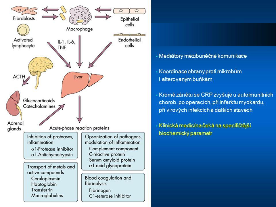 Mediátory mezibuněčné komunikace Koordinace obrany proti mikrobům i alterovaným buňkám Kromě zánětu se CRP zvyšuje u autoimunitních chorob, po operací