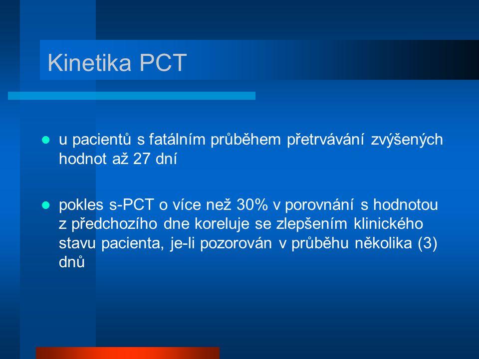 u pacientů s fatálním průběhem přetrvávání zvýšených hodnot až 27 dní pokles s-PCT o více než 30% v porovnání s hodnotou z předchozího dne koreluje se