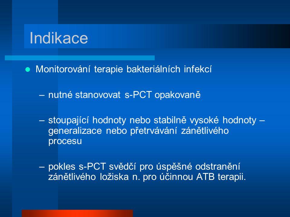 Indikace Monitorování terapie bakteriálních infekcí –nutné stanovovat s-PCT opakovaně –stoupající hodnoty nebo stabilně vysoké hodnoty – generalizace