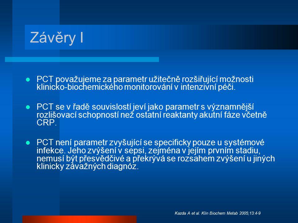 Závěry I PCT považujeme za parametr užitečně rozšiřující možnosti klinicko-biochemického monitorování v intenzivní péči. PCT se v řadě souvislostí jev