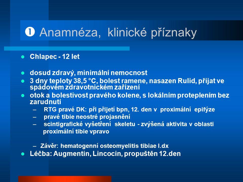  Anamnéza, klinické příznaky Chlapec - 12 let dosud zdravý, minimální nemocnost 3 dny teploty 38,5 °C, bolest ramene, nasazen Rulid, přijat ve spádov