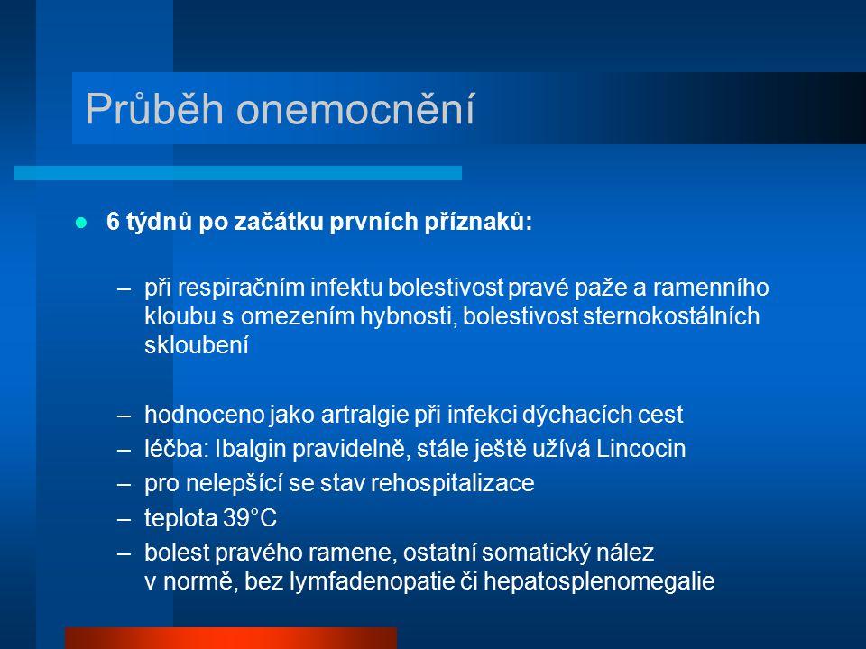 Průběh onemocnění 6 týdnů po začátku prvních příznaků: –při respiračním infektu bolestivost pravé paže a ramenního kloubu s omezením hybnosti, bolesti