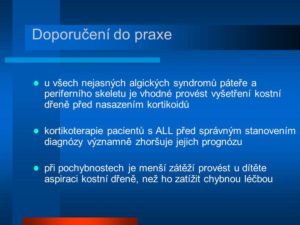u všech nejasných algických syndromů páteře a periferního skeletu je vhodné provést vyšetření kostní dřeně před nasazením kortikoidů kortikoterapie pa