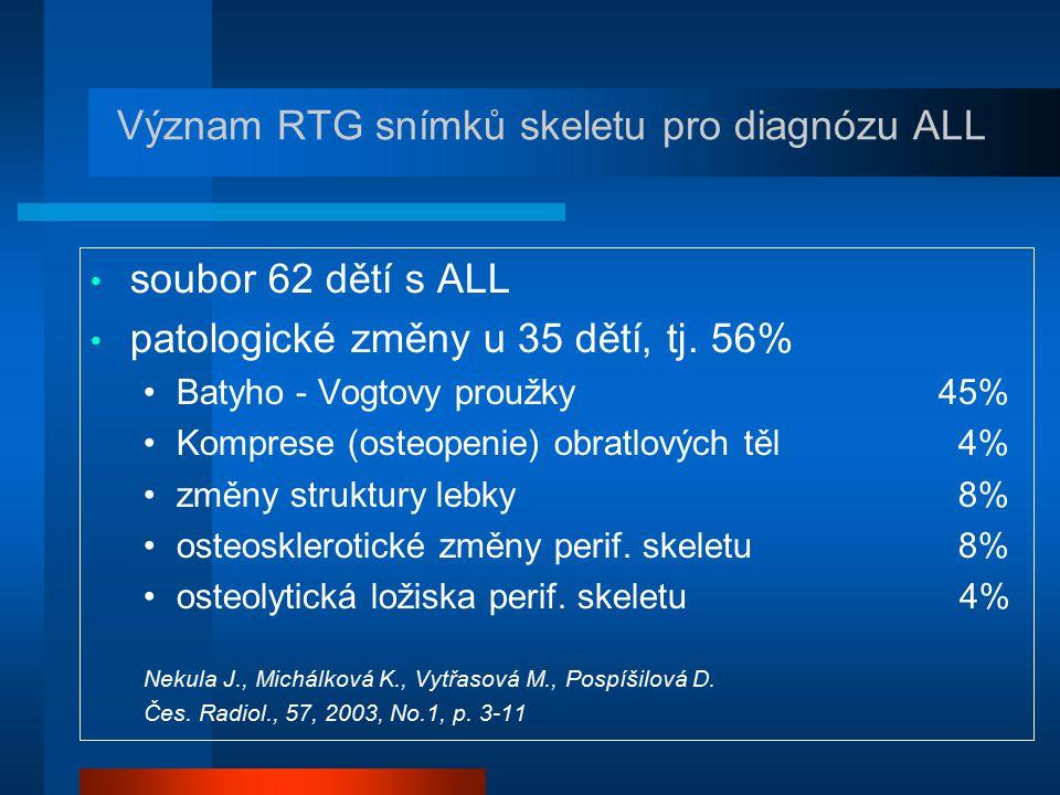 Význam RTG snímků skeletu pro diagnózu ALL soubor 62 dětí s ALL patologické změny u 35 dětí, tj. 56% Batyho - Vogtovy proužky 45% Komprese (osteopenie