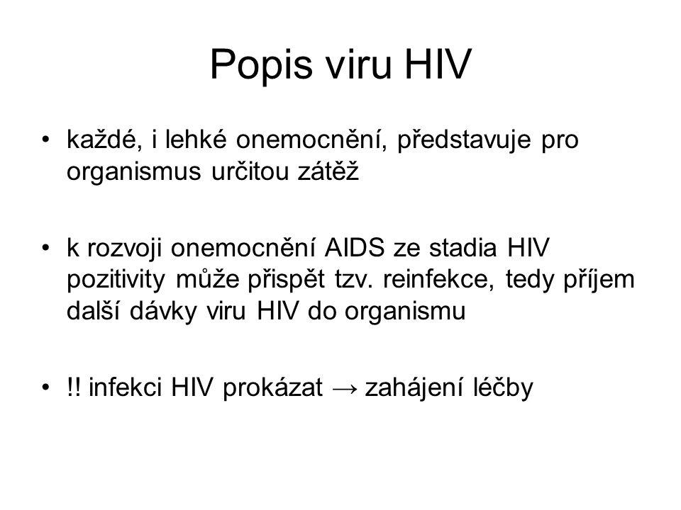 Popis viru HIV každé, i lehké onemocnění, představuje pro organismus určitou zátěž k rozvoji onemocnění AIDS ze stadia HIV pozitivity může přispět tzv.
