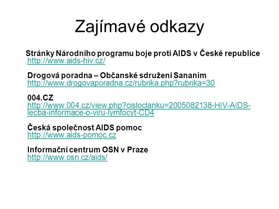 Zajímavé odkazy Stránky Národního programu boje proti AIDS v České republice http://www.aids-hiv.cz/ Drogová poradna – Občanské sdružení Sananim http: