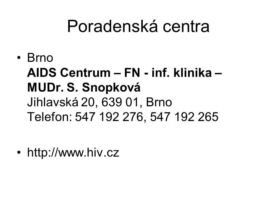 Poradenská centra Brno AIDS Centrum – FN - inf. klinika – MUDr. S. Snopková Jihlavská 20, 639 01, Brno Telefon: 547 192 276, 547 192 265 http://www.hi