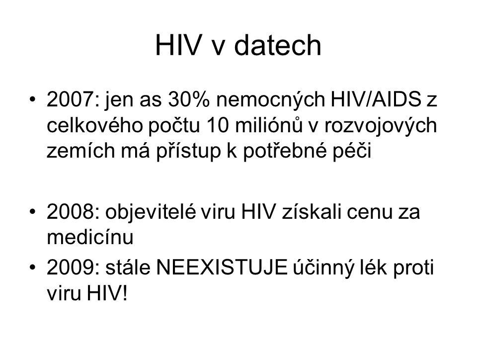 HIV v datech 2007: jen as 30% nemocných HIV/AIDS z celkového počtu 10 miliónů v rozvojových zemích má přístup k potřebné péči 2008: objevitelé viru HIV získali cenu za medicínu 2009: stále NEEXISTUJE účinný lék proti viru HIV!