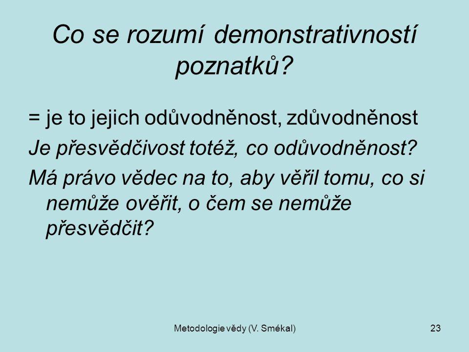 Metodologie vědy (V. Smékal)23 Co se rozumí demonstrativností poznatků? = je to jejich odůvodněnost, zdůvodněnost Je přesvědčivost totéž, co odůvodněn