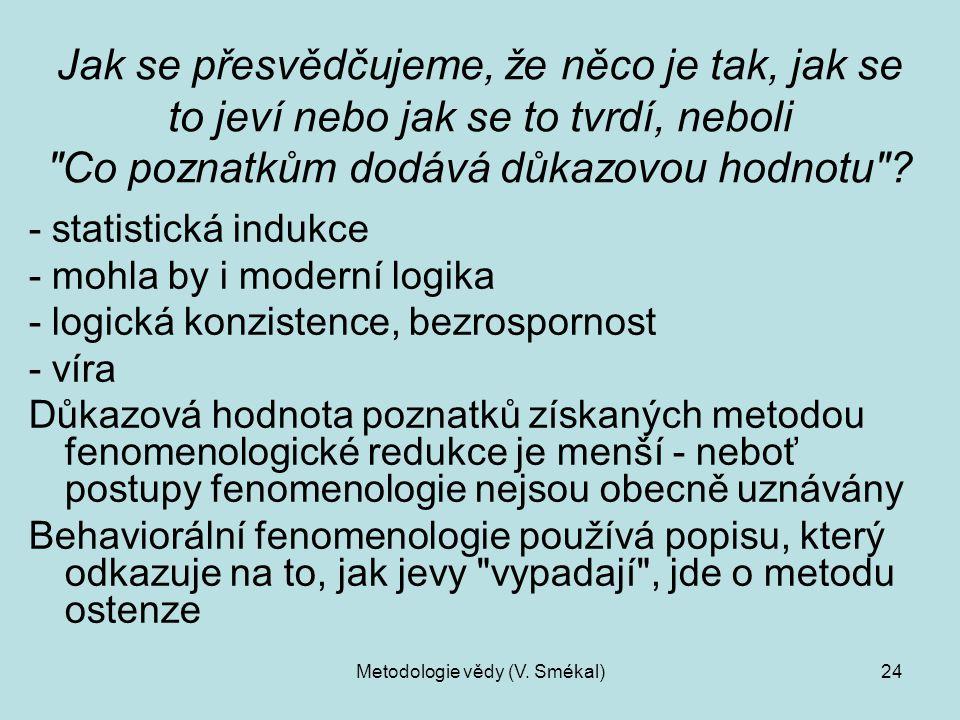 Metodologie vědy (V. Smékal)24 Jak se přesvědčujeme, že něco je tak, jak se to jeví nebo jak se to tvrdí, neboli