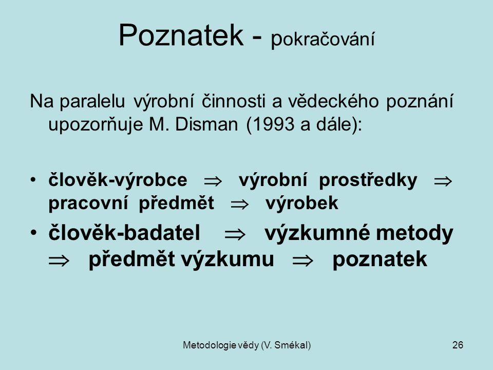 Metodologie vědy (V. Smékal)26 Poznatek - p okračování Na paralelu výrobní činnosti a vědeckého poznání upozorňuje M. Disman (1993 a dále): člověk-výr