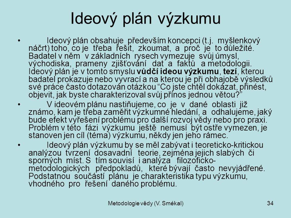 Metodologie vědy (V. Smékal)34 Ideový plán výzkumu Ideový plán obsahuje především koncepci (t.j. myšlenkový náčrt) toho, co je třeba řešit, zkoumat, a
