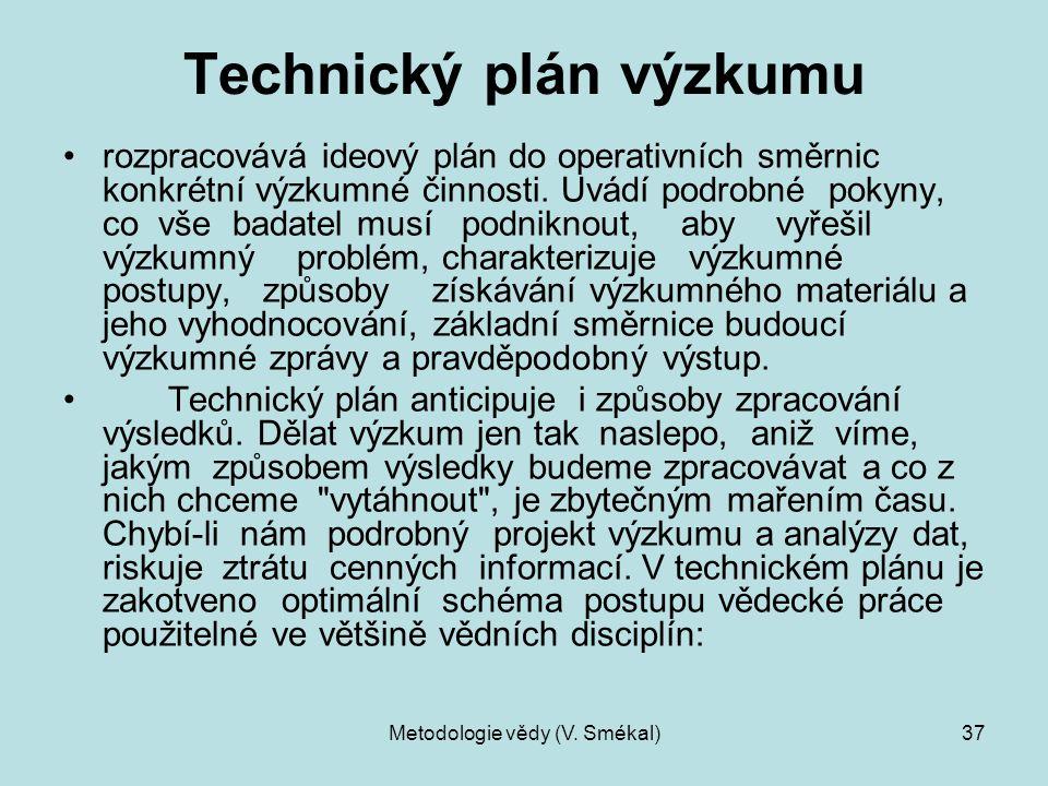 Metodologie vědy (V. Smékal)37 Technický plán výzkumu rozpracovává ideový plán do operativních směrnic konkrétní výzkumné činnosti. Uvádí podrobné pok
