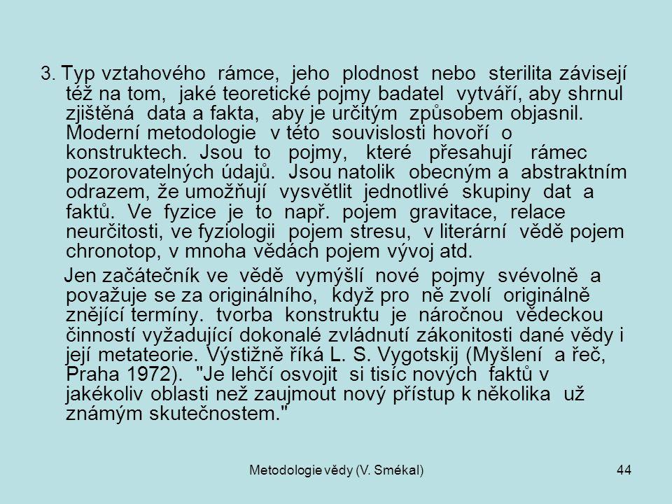 Metodologie vědy (V. Smékal)44 3. Typ vztahového rámce, jeho plodnost nebo sterilita závisejí též na tom, jaké teoretické pojmy badatel vytváří, aby s