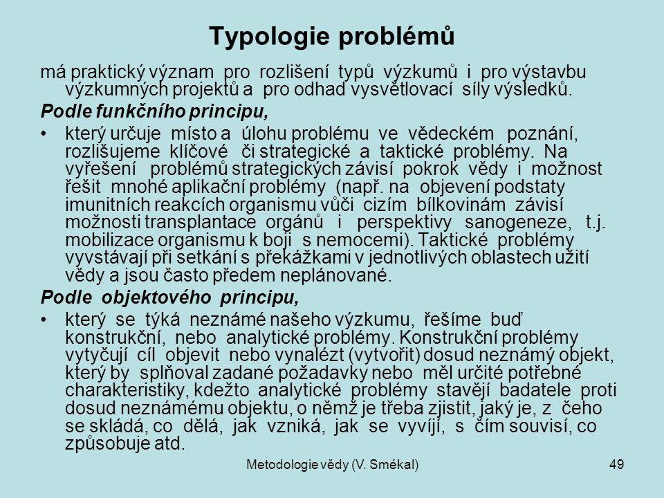 Metodologie vědy (V. Smékal)49 Typologie problémů má praktický význam pro rozlišení typů výzkumů i pro výstavbu výzkumných projektů a pro odhad vysvět