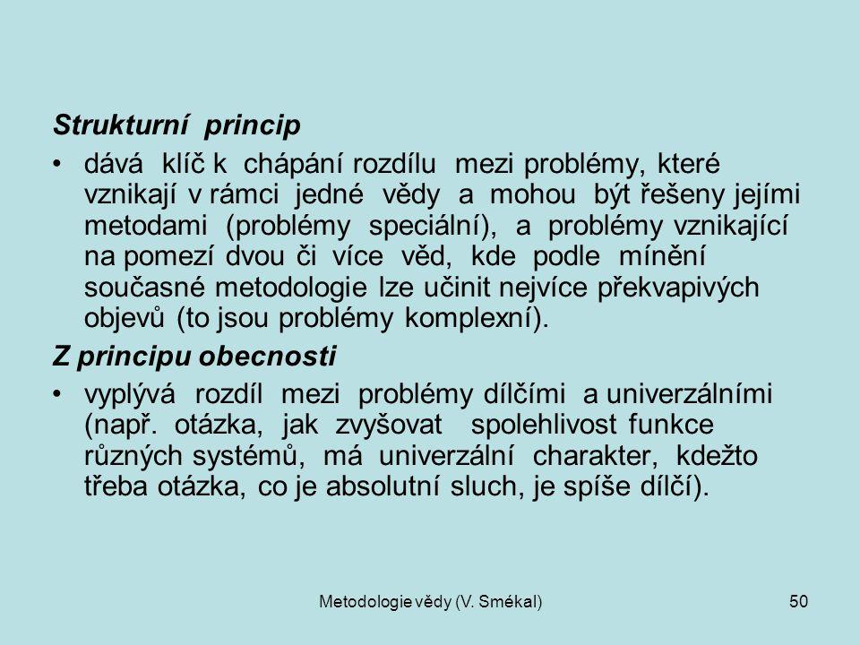 Metodologie vědy (V. Smékal)50 Strukturní princip dává klíč k chápání rozdílu mezi problémy, které vznikají v rámci jedné vědy a mohou být řešeny její