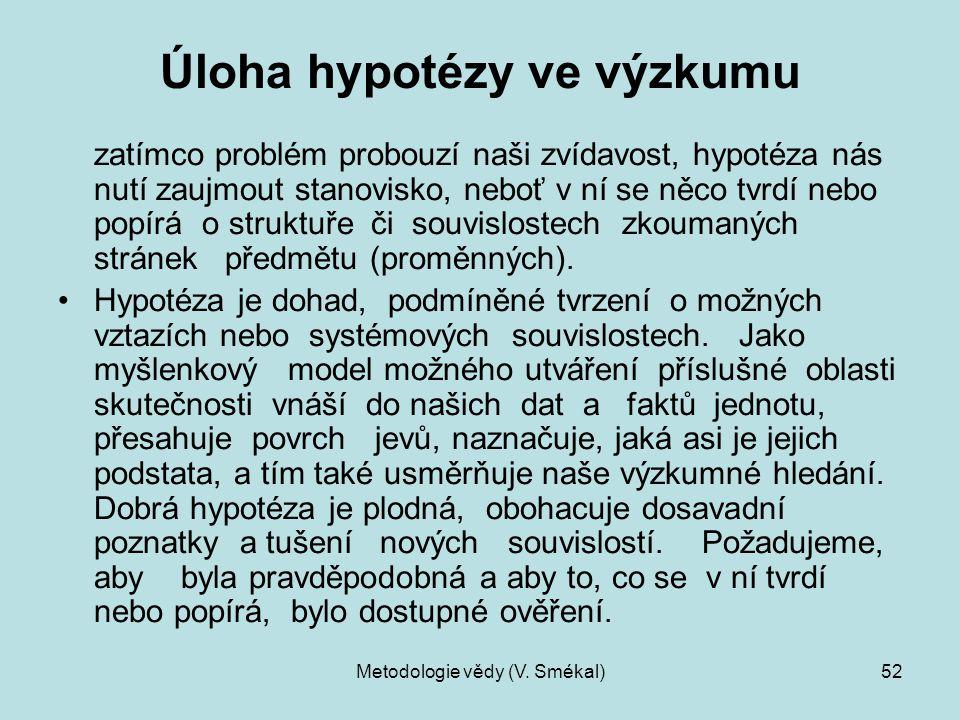 Metodologie vědy (V. Smékal)52 Úloha hypotézy ve výzkumu zatímco problém probouzí naši zvídavost, hypotéza nás nutí zaujmout stanovisko, neboť v ní se