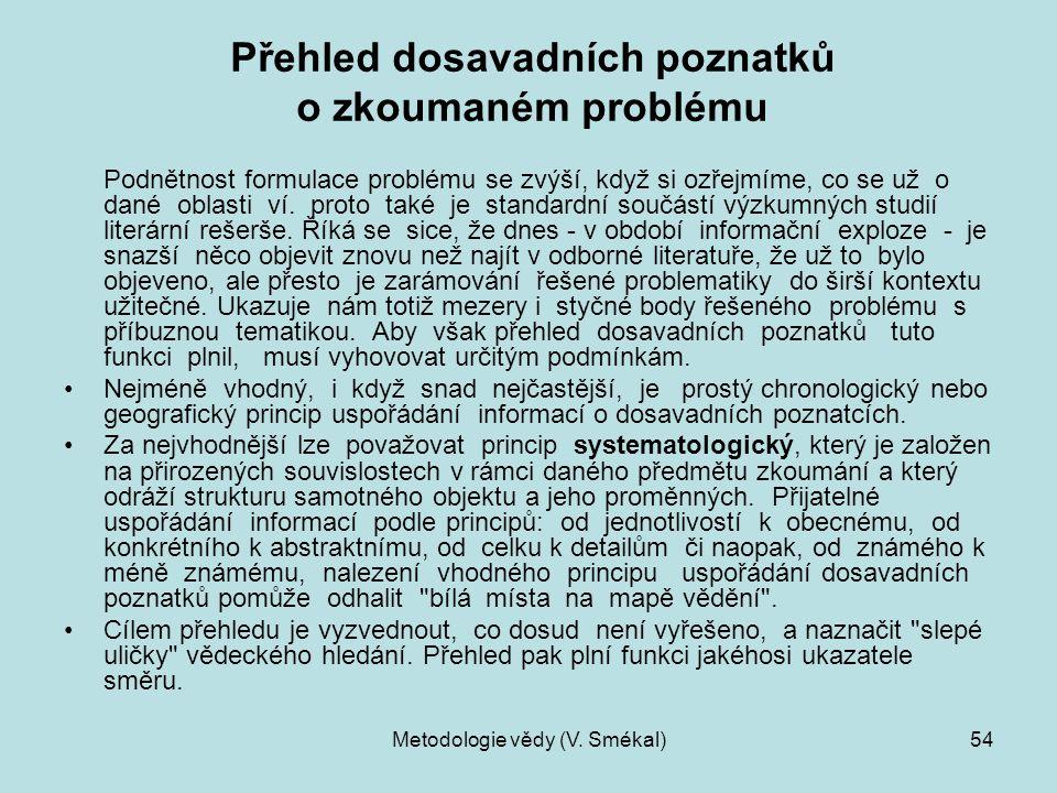 Metodologie vědy (V. Smékal)54 Přehled dosavadních poznatků o zkoumaném problému Podnětnost formulace problému se zvýší, když si ozřejmíme, co se už o