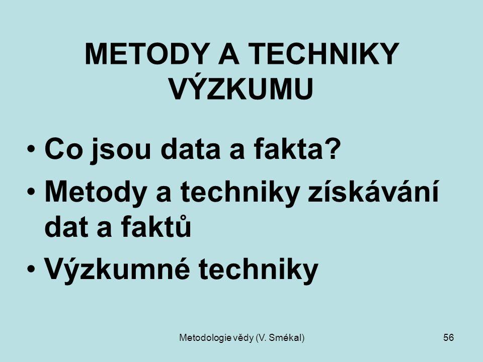Metodologie vědy (V. Smékal)56 METODY A TECHNIKY VÝZKUMU Co jsou data a fakta? Metody a techniky získávání dat a faktů Výzkumné techniky